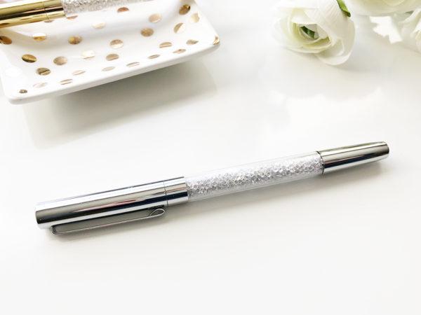 Diamond Filled Ballpoint Pen Silver