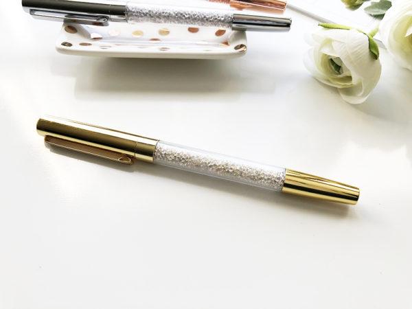Diamond Filled Ballpoint Pen Gold