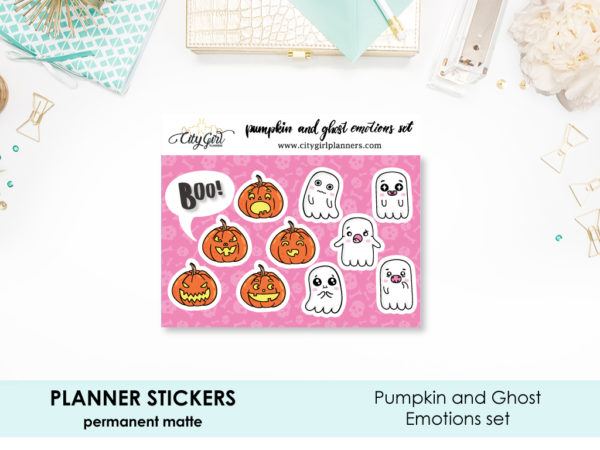 Pumpkin and Ghost Emotions Halloween Stickers