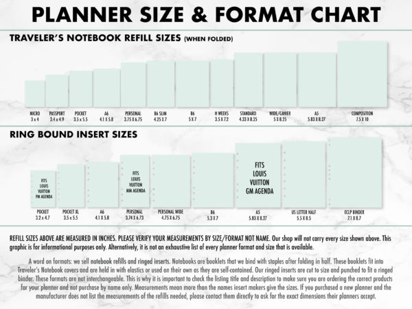 Planner Size & Format Chart